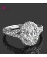 1.78 TCW Oval Shaped Halo Set Diamond Engagement Ring Split 18k White Go... - $4,157.01