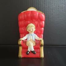 Vintage Lefton Boy in Big Puffy Red Royal Chair Figurine Planter Vase 21... - $24.99