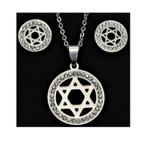 Set Necklace & earrings Jewish Star of David Stainless Steel Fashion Holy gift - $6.59