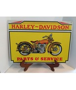 Vintage Tin HARLEY DAVIDSON PARTS & SERVICE SIGN 9 3/4' X 14' GOOD CONDI... - $39.60