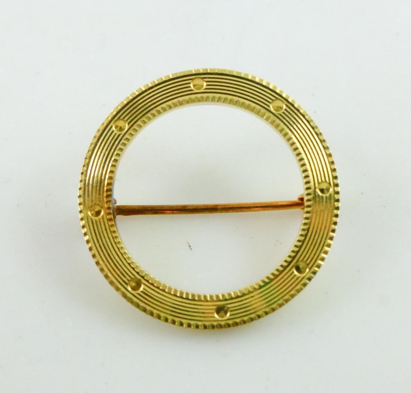 14K Yellow GOLD Textured Open CIRCLE Pin - 1.5 grams - FREE SHIPPING