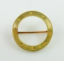 14K Yellow GOLD Textured Open CIRCLE Pin - 1.5 grams - FREE SHIPPING - $90.00