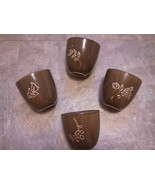 Brown FSG Set 4 Mugs Cup no handle 6 oz ceramic Dishwasher Microwave Saf... - $24.74