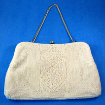 Elegant Pearl Seed Beaded Purse Retro 1950-1960s Hong Kong Glamour Convertible - $38.00