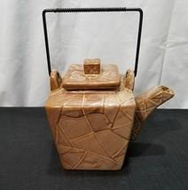 Pier 1 Canyon Teapot Brown Textured Stoneware - $14.01