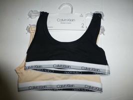 Calvin Klein Girls Black Cream 2 pack Cotton Blend Bralette Size Small 6... - $13.85