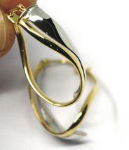 18K YELLOW WHITE GOLD PENDANT EARRINGS ONDULATE OVAL DOUBLE TUBE HOOPS 2.9cm image 5
