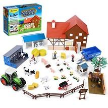 iBaseToy Animal Farm Playset, 44PCS Farm Animal Toys Set with Farm Animals Figur