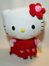 2014 Large Sanrio Hello Kitty Red Heart Dress Greeter Plush 17 x 15 inch - $24.70