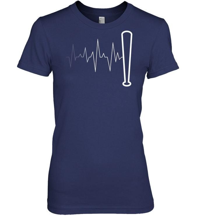 Funny Baseball Tshirt   Baseball Bat Heartbeat Pulse