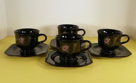 Mikasa EBONY Garden Cup and Saucer Set (s) LOT OF 4 Pink Yellow Flowers ... - $29.65