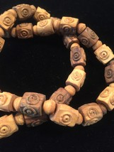 Vintage 50s hand carved wood bead necklace image 2