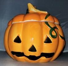 Vintage Royal Norfolk Ceramic Pumpkin Candy Cookie Jar Jack O'Lantern - $29.95