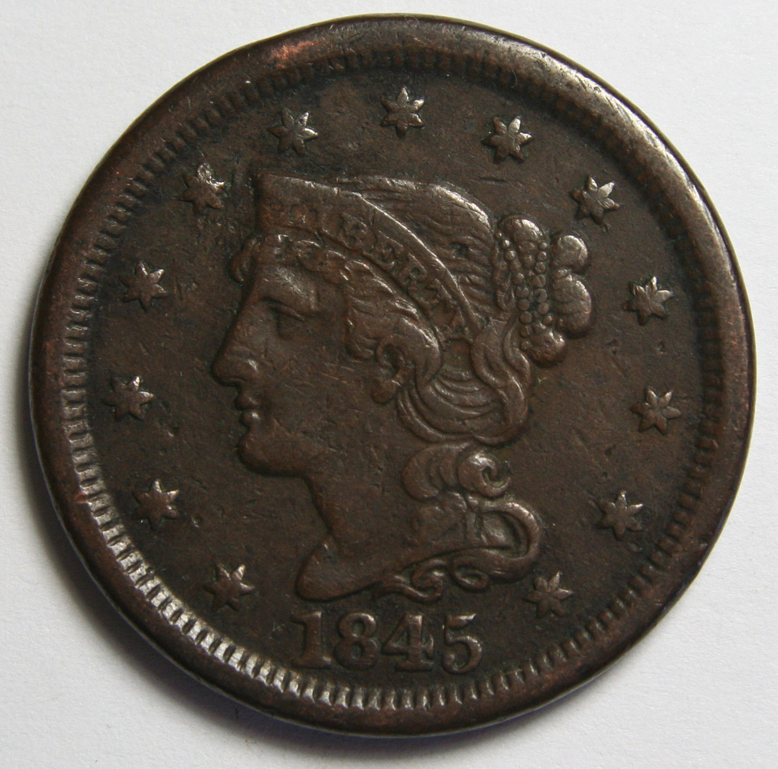 1845 Large Cent Liberty Braided Hair Head Coin Lot # MZ 4094