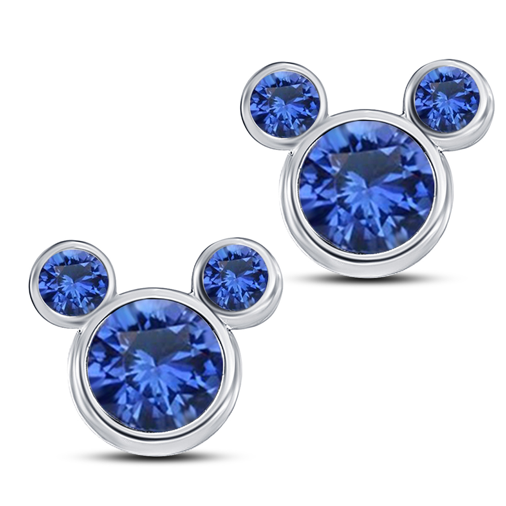 Primary image for Blue Sapphire Women's Swirl Stud Earrings In 14k White Gold Over Pure 925 Silver