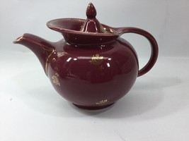 Hall China Windshield Teapot 6 Cup With Lid Maroon Gold Camellia Decorat... - $24.74
