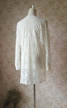 Open Ivory White Long Sleeve Stretch Lace Cover Up Wedding Lace Bolero PLUS SIZE image 5