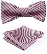 BIYINI Men's Stripe Jacquard Woven Wedding Party Self Bow Tie Set Pink - $24.12