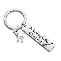 SEIRAA Hunting Gift for Dad My Hunting Buddy Calls Me Dad Keychain for H... - $14.24