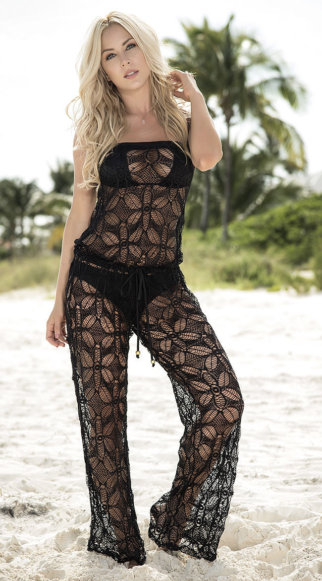Espiral Black Strapless Net Swimsuit Cover Up Jumpsuit ...