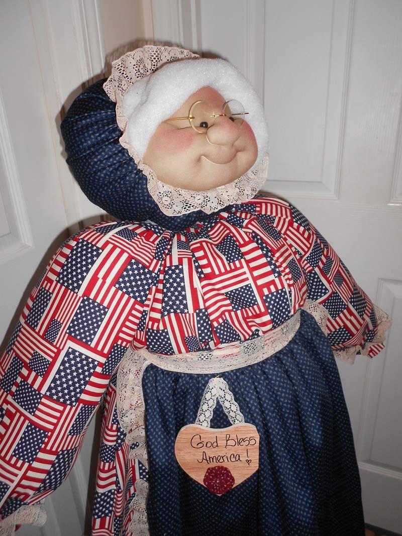 Vacuum Cleaner Cover Soft Sculpture Grandma - Americana Patriotic Flags - $85.00
