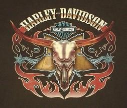 Harley Davidson Steer Skull L/S T Shirt Brown Spurs Flames Frederick MD ... - $26.99