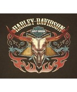 Harley Davidson Steer Skull L/S T Shirt Brown Spurs Flames Frederick MD ... - $26.99