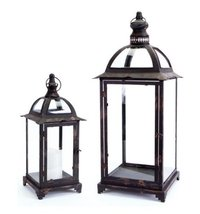 Set of 2 Pagoda Crest Weathered Iron and Glass Pillar Candle Holder Lant... - $131.41