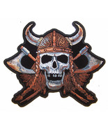 JUMBO VIKING w hat SKULL AXE MOTORCYCLE PATCH JBP55 jacket BACK patches ... - $12.34