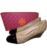 Tory Burch Claremont Quilted Beige Leather Wedge Pump Shoe Gold Logo 10 - $178.00