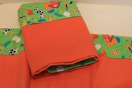Pillowcases in flannel with farm animals in orange and greens new handmade full  - $15.00