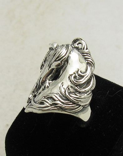 R000813 STERLING SILVER Ring Solid 925 Unicorn Horse
