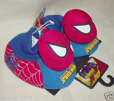 Marvel Spider-Man Spider Sense Slippers Sock top Toddler Boys Size 5-6 NWT