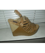 Mojo Moxy New Tan Leather Caged Slingback Platform Wedge Sandals Heels S... - $29.99