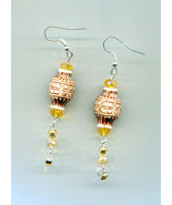 long brown bead earrings dangle drop plastic glass boho beads jewelry ha... - $5.99