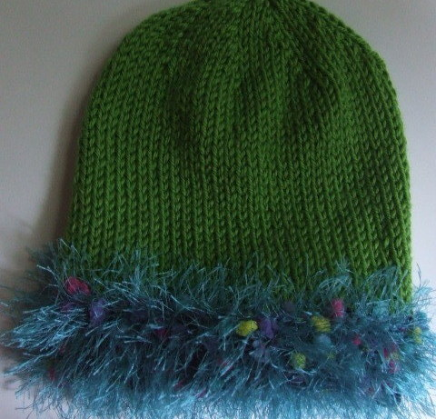 Handknit Hat Avocado Green Acrylic Fun fur trim