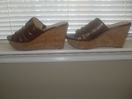 Nine West New Elspie Brown Leather Slider Wedge Heels Medium (B,M)  10 - $32.99
