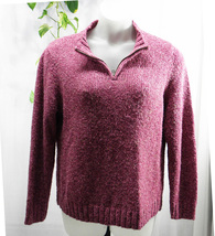 "Croft & Barrow ¼"" Zip Pullover Medium Acrylic Blend Solid Purple Sweater... - $12.99"