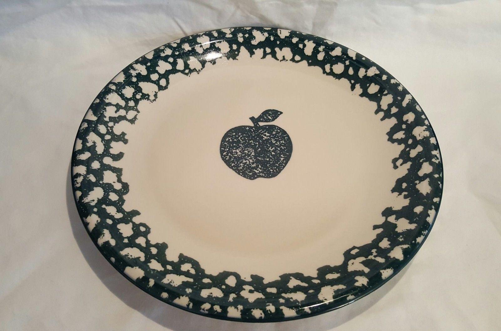 "Tienshan Folk Craft Moose Country 7.5/"" Salad Plate Sponged Green set Of 4"