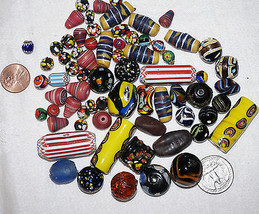 Antique Vintage Venetian Glass African Trade Feather Millefiori Beads Be... - $250.00