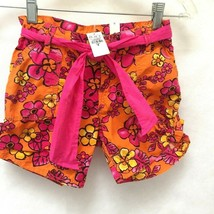 Childrens Place Sz 8 Shorts Orange Pink Floral Belted Adjustable Pants Girls New - $11.74