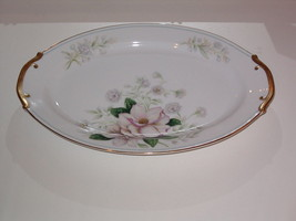 Grace China ROCHELLE Oval Serving Platter 12-1/4 in Pink Flowers Gold Bl... - $39.99