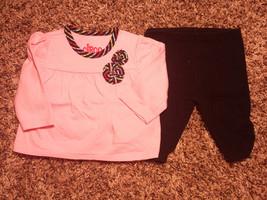 Girl's Size NB Newborn Two Pc Pink Circo Striped Floral L/S Top & Black Leggings - $12.00