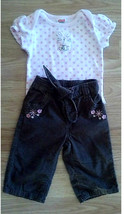 Girl's Size 3/6 M Month 2 Piece Outfit Pink Bunny Top Brown Corduroy Pant - $10.00