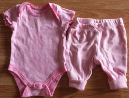 Girl's Size NB Newborn Two Piece Faded Glory Pink/ White Striped Top & Pants - $3.25