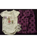 Girl's Size 3/6 M Months 2 Pc. Kitten H&M Top & Purple Ruffled Pants + S... - $9.00