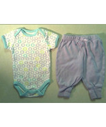 Girl's Sz 0-3 M Months 2 Piece Outfit Mini Muffin Circle Top & Purple F.... - $2.00