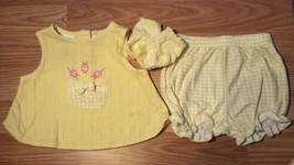 Girl's Size 3-6 M Months 3 Pc Tiny Tots Yellow Ladybug Pocket Dress Set ... - $8.50