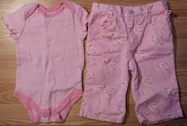 Girl's Size 3-6 M Months 2 Pc Faded Glory Pink Striped Top & Rose Designed Pants - $8.50