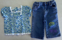 Girl's Sz 6/9 M Months 2 Pc The Children's Place Outfit Blue Floral Top, Jeans - $8.50